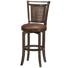 furniture brown wood and iron bar stool combined leather
