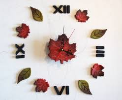 themed clock leaves wall stickers oversized wall clock with numerals
