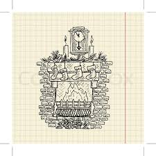 christmas sketch of fireplace vector illustration eps10 stock