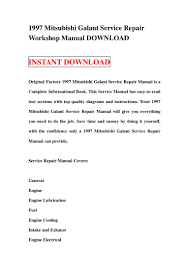 1997 mitsubishi galant service repair workshop manual download