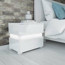 how high should a bedside table be sense white high gloss bedside table with led light furniture123