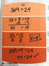 solving two step equations interactive notebook page idea for algebra in middle school or