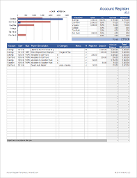 Checking Account Balance Sheet Template Account Register Template With Sub Accounts In Excel