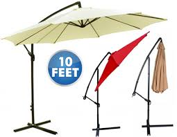 10 Foot Patio Umbrella 10 Foot Hanging Offset Cantilever Patio Umbrella With Crank Yugster