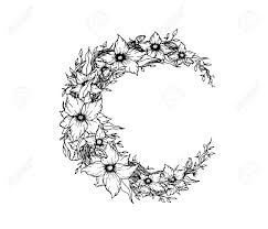 crescent moon decorated with flowers on white background royalty
