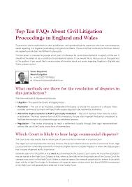 Queen S Bench Division Top Ten Faqs About Civil Litigation Proceedings In England And Wales U2026