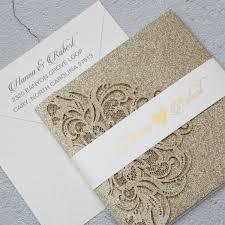 invitation pocket luxury chagne gold glitter tri fold pocket wedding invitation