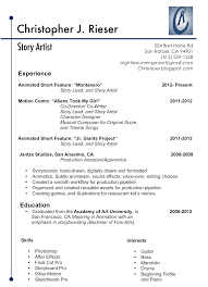 Fiu Resume Christopher Rieser Story Artist Resume And Contact