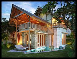 Home Design Story Pool by Captivating Two Story Balinese Home Design With Natural Roofing
