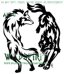 yin yang tribal wolf set by wildspiritwolf tatuaje pinterest
