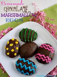 easter marshmallow eggs chocolate marshmallow eggs butter with a side of bread