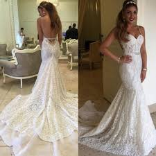backless lace wedding dresses mermaid spaghetti backless lace bridal gown wedding party
