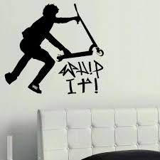 Wall Murals For Childrens Bedrooms Large Stunt Trick Scooter Children Bedroom Wall Mural Stencil Art
