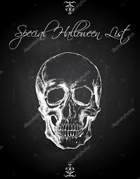 halloween poster background free skull ink drawing over chalkboard background halloween list