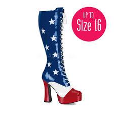 British Flag Boots Funtasma Electra 2030 American Flag Knee High Boots