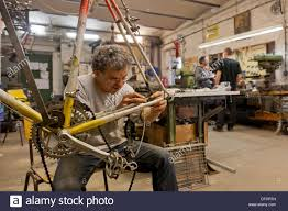 berlin germany bicycle frame building in the workshop of ostrad