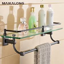 Bathroom Glass Shelves With Rail Bathroom Glass Shelf Wall Mount With Towel Bar And Rail Black