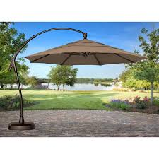 Offset Patio Umbrella With Base Coral Coast 11 Ft Steel Lighted Offset Olefin Patio Umbrella