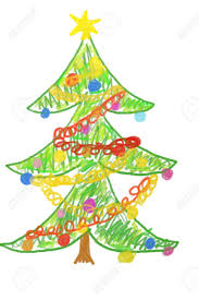 child drawing of christmas tree stock photo picture and royalty