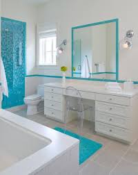 Beach Themed Bathroom Mirrors by Kids Bathroom Designs In White And Blue Theme With Brown Floor