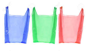 plastic shopping bags on isolated white background stock photo