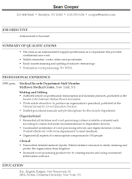 resume administrative skills office administrative assistant in medical records department