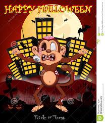 happy halloween vector monkey zombie with city background for happy halloween vector