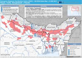 map of nepal and india nepal india bangladesh floods dg echo daily map 17 08 2017