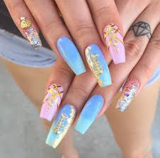love this nails and the litter fish charm is so cute square