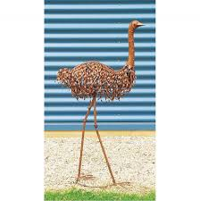 garden ornament metal emu design in rusted finish 51x24 5x108cm