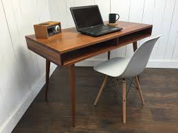 boxer mid century modern desk with storage featuring sapele