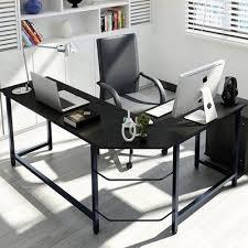Black L Shaped Computer Desk Ebern Designs Tetrick L Shaped Computer Desk Finish Black Desks