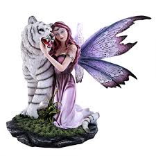 white tiger home decor fairy with tiger statue fantasy fairy statue