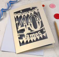 personalised papercut 40th birthday card by pogofandango