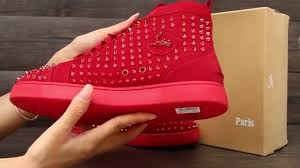 cl christian louboutin red spike and red suede men flat from