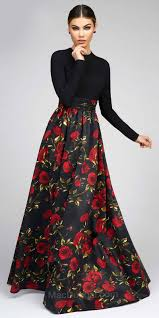floral long sleeve fit and flare ball gown by mac duggal