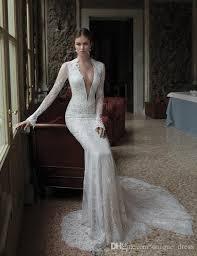wedding dress makers berta lace wedding dresses mermaid real photos v neck