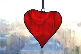 stained glass red heart ornament charm decoration suncatcher