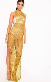 gold maxi dress metallic knitwear sweaters tops jumpers prettylittlething usa