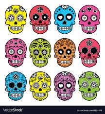 dia de los muertos sugar skulls mexican sugar skull dia de los muertos vector image
