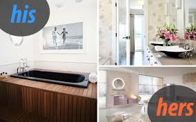 masculine and feminine bathrooms