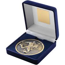 first for trophies blue medal box with high quality football