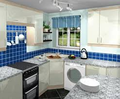 apartment corner kitchen design mixed with dark blue tile