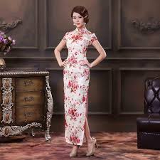 newly arrival chinese restro cheongsam long lace printing flowers