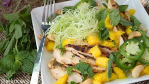 mango chicken rice noodle salad is a fresh asian dish in 20 minutes