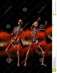 halloween skeletons and evil pumpkins royalty free stock photos