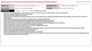 awesome medical technologist resume photos simple resume office