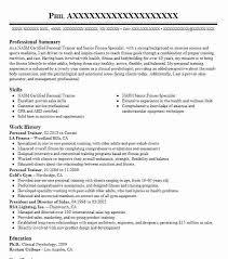 Sample Fitness Resume by Best Fitness And Personal Trainer Resume Example Livecareer