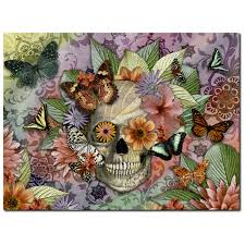 butterfly floral skull canvas print solid surface sugar skull