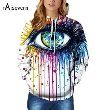 raisevern new men women unisex 3d hoodies oil painted big eye